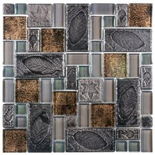 Eden Random Sized Polished Glass and Stone Versailles Mosaic in Walnut