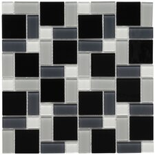 "<strong>EliteTile</strong> Ambit 11-3/4"" x 11-3/4"" Polished Glass Block Mosaic in White and Black"