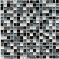 "<strong>EliteTile</strong> Sierra 11-3/4"" x 11-3/4"" Polished Glass and Stone Mini Mosaic in Tuxedo"