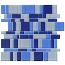 "Sierra 11-3/4"" x 11-3/4"" Polished Glass Mosaic in Magic Celeste"
