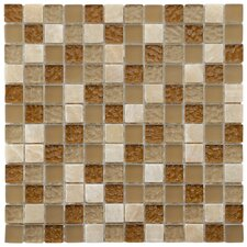"<strong>EliteTile</strong> Sierra 11-3/4"" x 11-3/4"" Polished Glass and Stone Square Mosaic in Amber"