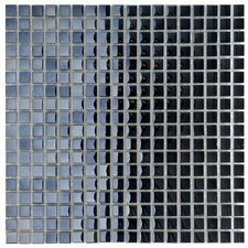 "Sable 11-3/4"" x 11-3/4"" Polished Glass Mini Mosaic in Black Mirror"