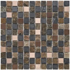 "<strong>EliteTile</strong> Abbey 12"" x 12"" Unpolished Natural Stone and Metal Mosaic in Alloy Rosa"