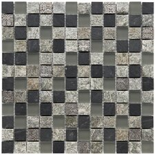 "Abbey 7/8"" x 7/8"" Unpolished Natural Stone and Metal Mosaic in Fauna Verde"
