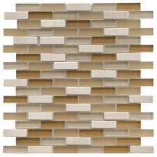 "Sierra 11-3/4"" x 11-3/4"" Polished Glass and Stone Subway Mosaic in Latte"