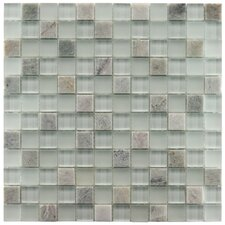 "Sierra 11-3/4"" x 11-3/4"" Polished Glass and Stone Square Mosaic in Ming"