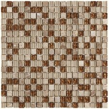 "<strong>EliteTile</strong> Sierra 11-3/4"" x 11-3/4"" Polished Glass and Stone Mini Mosaic in Caramel"