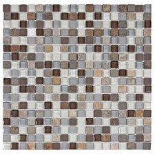 "Sierra 11-3/4"" x 11-3/4"" Polished Glass and Stone Mini Mosaic in Tundra"