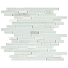 "Sierra 11-3/4"" x 11-5/8"" Polished Glass and Stone Piano Mosaic in Ming"