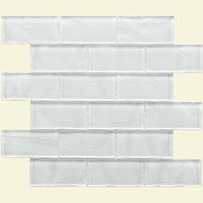 "Sierra 3-3/4"" x 1-7/8"" Polished Glass Mosaic in Ripple White"