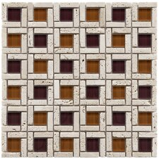"Sierra 11-3/4"" x 11-3/4"" Polished Glass and Stone Cubic Mosaic in Sienna"