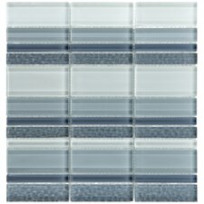 "Sierra 12-1/4"" x 11-3/4"" Polished Glass Mosaic in Meridian Cirrus"