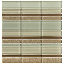 "Sierra 12-3/4"" x 12-1/4"" Polished Glass Mosaic in Meridian Stratus"