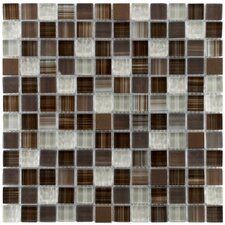 "Sierra 11-3/4"" x 11-3/4"" Polished Glass and Metal Square Mosaic in Truffle"