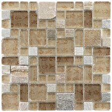 "Sierra 11-3/4"" x 11-3/4"" Polished Glass and Stone Versailles Mosaic in Heritage"