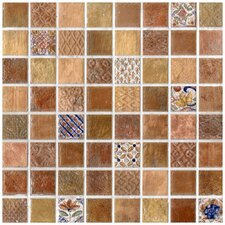 "<strong>EliteTile</strong> Tesselar Valise 2 7-13/16"" x 7-13/16"" Glazed Ceramic Mosaic in Earth Tones"