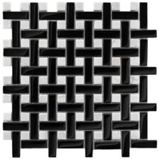 "<strong>EliteTile</strong> Sierra 11"" x 11"" Polished Glass and Stone Basketweave Mosaic in Classic"