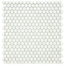 "Posh 11-1/4"" x 12"" Penny Round Porcelain Mosaic Wall Tile in White"
