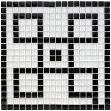 "Sierra 11-3/4"" x 11-3/4"" Polished Greek Key Glass Mural Mosaic in Black and White"