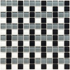 "Ambit 7/8"" x 7/8"" Polished Basket Monochrome Glass Mosaic Wall Tile in Multi"