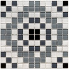 "Ambit 11-3/4"" x 11-3/4"" Polished Medallion Monochrome Glass Mosaic Wall Tile in Multi"