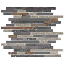 "Sierra 12"" x 11-3/4"" Polished Piano Glass and Stone Wall  Mosaic in Wisp"