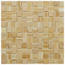 "Chroma 11-1/2"" x 11-1/2"" Square Glass and Stone Mosaic Wall Tile in Butterscotch"