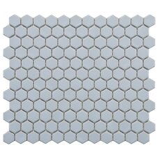 "Retro 10-1/4"" x 11-3/4"" Glazed Porcelain Hex Mosaic in Matte Light Blue"