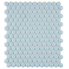 "Retro 11-1/2"" x 9-7/8"" Glazed Porcelain Penni Mosaic in Matte Light Blue"