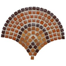 "Sierra 11-1/4"" x 9-1/2"" Polished Glass, Stone and Metal Mosaic in Arch Paprika"