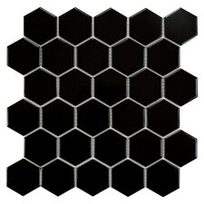 "Retro 10-1/2"" x 11"" Glazed Porcelain Mosaic in Glossy Black"
