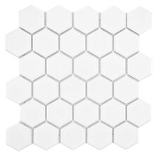 "Retro 10-1/2"" x 11"" Glazed Porcelain Mosaic in Glossy White"