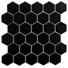 "Retro 10-1/2"" x 11"" Glazed Porcelain Mosaic in Matte Black"