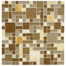 "Sierra 11-3/4"" x 11-3/4"" Polished Glass and Stone Mosaic in Versailles Amber"