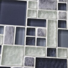 "Sierra 11-3/4"" x 11-3/4"" Polished Glass and Stone Mosaic in Versailles Gulf"