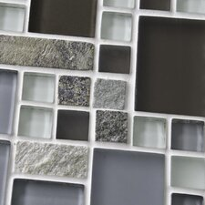 "Sierra 11-3/4"" x 11-3/4"" Polished Glass and Stone Mosaic in Versailles Tundra"