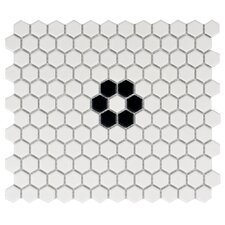 "Retro 10.25"" x 11.75"" Porcelain Mosaic Tile in Matte White"
