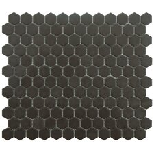 "New York 10.25"" x 12"" Porcelain Mosaic Tile in Antique Black"