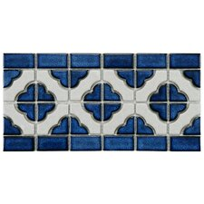 "<strong>EliteTile</strong> Castle 5-3/4"" x 11-3/4"" Porcelain Mosaic in White and Cobalt"