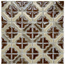 "Castle 11-3/4"" x 11-3/4"" Porcelain Mosaic in Henna"