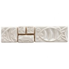 "Reef 8"" x 2"" Aquatica Handmade Ceramic Mosaic Wall Tile in Blanco"