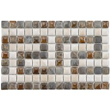 "Samoan 6"" x 9"" Greek Key Glazed Porcelain Border Mosaic in Gray, White and Slate"