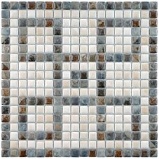 "Samoan 12"" x 12"" Greek Key Glazed Porcelain Mural Mosaic in Gray, White and Slate"