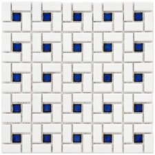 "<strong>EliteTile</strong> Retro 12-1/2"" x 12-1/2"" Glazed Porcelain Spiral Mosaic in White and Blue"