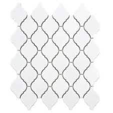 "Arabesque 2-3/4"" x 1-7/8"" Porcelain Mosaic Tile in Glossy White"