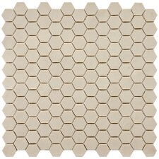 "Vintage 12"" x 11-3/4"" Unglazed Porcelain Hexagon Mosaic in Antique"