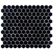 "Retro 11-3/4"" x 10-1/4"" Glazed Porcelain Hex Mosaic in Matte Black"