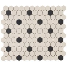 "Vintage 11"" x 12-5/8"" Unglazed Porcelain Hexagon Mosaic in Antique with Black Dot"