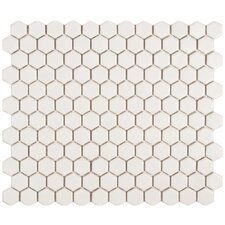 "Retro 11-3/4"" x 10-1/4"" Glazed Porcelain Hex Mosaic in Matte White"