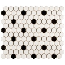 "Retro 7/8"" x 7/8"" Glazed Porcelain Mosaic in Matte White with Black Dot"
